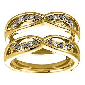 Black Diamond Criss Cross Anniversary Style Jacket Ring Guard Set In Yellow Plated Sterling Silver (0.24 Ct. Twt.)