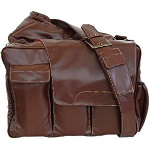 Diaper Dude Brown Pleather Messenger II diaper bag (flap)