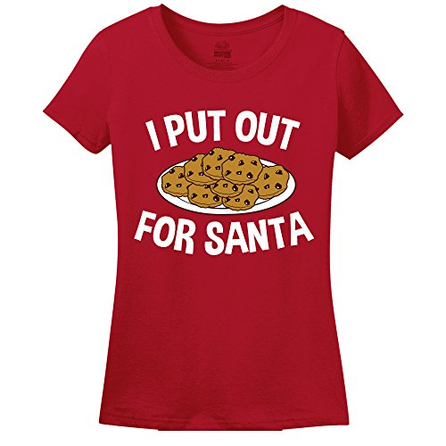 I Put Out For Santa Funny Christmas T-Shirt Womens T-Shirt Red XXLarge (Elf From Santa Clause)