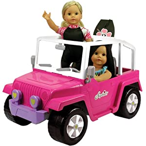 """Doll Car, 4x4 Doll Beach Cruiser for 18 Inch Dolls Like American Girl, Fits Two 18"""" Dolls. Dolls and Doll Clothes and Doll Boogie Board Not Included"""