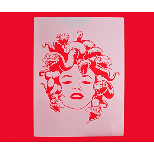 FOUR-C Cupcake Stencils Design of Medusa Cookie and Coffee Stencils Decorating Tools Color White
