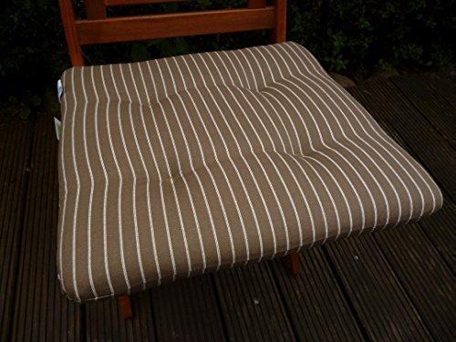 2 Stück Sun Garden Hockerkissen Sitzkissen Ulm ca. 45x45x6cm (BxLxH) Farbe Braun weiß gestreift Design 960 100% Baumwolle günstig online kaufen