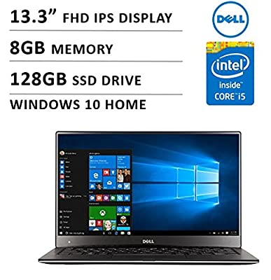 "2016 Newest Dell XPS 13 Premium High Performance Laptop with 13.3"" FHD IPS Display ( Intel Core i5, 8GB Memory, 128GB SSD, No DVD, Backlit Keyboard, WiFi, Webcam, Bluetooth, Windows 10 ) - Silver"