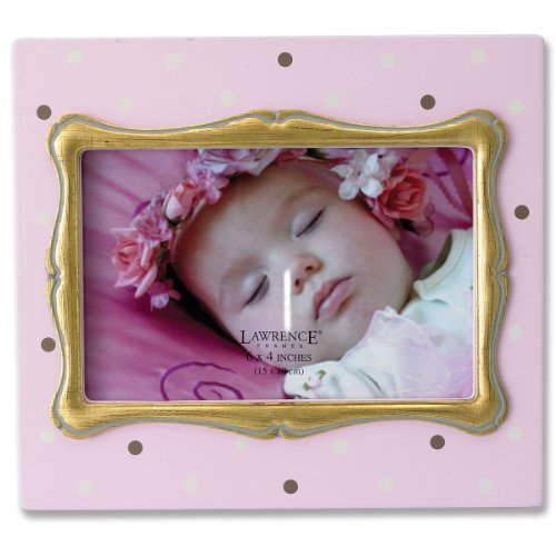 Lawrence Frames 4 by 6-Inch Pink Polka Dot Wood Picture Frame with Gold Inner Frame - 1