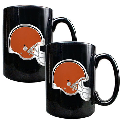 Nfl Cleveland Browns Two Piece Black Ceramic Mug Set - Primary Logo