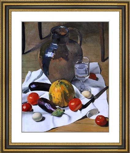 """Felix Vallotton A Still Life With Large Earthenware Jug - 23"""" X 25.5"""" Matted Framed Premium Archival Print"""