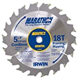 IRWIN Tools MARATHON Carbide Cordless Circular Saw Blade, 5 3/8-Inch, 18T Carded (14015) (Tamaño: 5-3/8