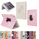 ipad mini2 /3 ケース アイパッドミニ カバー レザー 手帳型 超薄型 軽量 二つ折 スタンド機能付 横開きタイプ マグネット カートゥーン おしゃれ  オートスリープ (iPad mini1/2/3, 猫と魚)