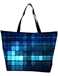 Snoogg Blue Lights Wide Designer Waterproof Bag Made Of High Strength Nylon