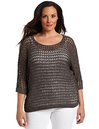Ak Anne Klein Women's Plus-Size 3/4 Sleeve Dolman Boat Neck Sweater, New Steel, 0X