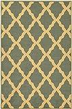 "Ottohome Collection Sage Green / Aqua Blue Color Contemporary Morrocon Trellis Design Area Rug With Non-Skid (Non-Slip) Rubber Backing (5'0""X6'6"")"