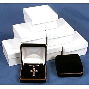 6 Black Velvet Necklace Pendant Gift Boxes With Brass Trim