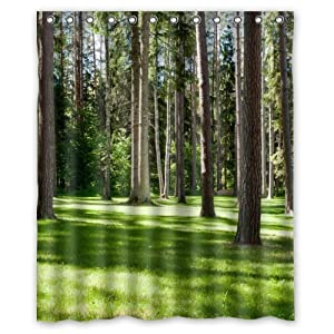 Slient peaceful forest green lawn shower - Forest green shower curtain ...