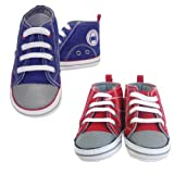 Boys Funky Hi top Shoes/Trainees With Lace Detail By Rock-A-Bye (0-6 Months, Red)