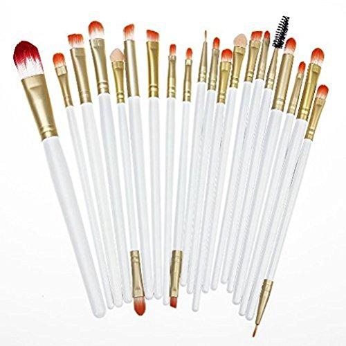 Kolight® 20 Pcs Pro Makeup Set Powder Foundation Eyeshadow Eyeliner Lip Cosmetic Brushes-White+Gold