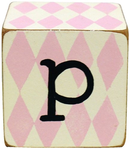 New Arrivals Letter Block P, Pink/White front-1049901