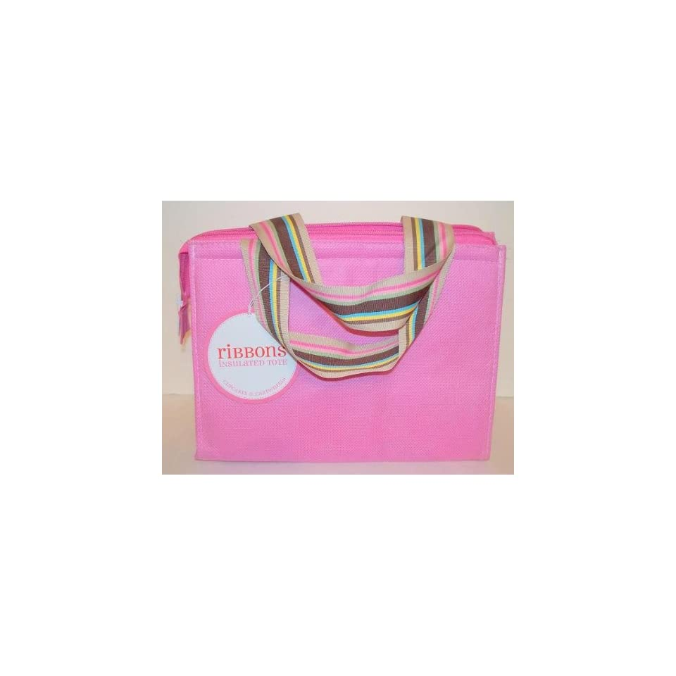 Twos Company Cupcakes Cartwheels Insulated Zippered Lunch Tote Cooler Bag Pink With Ribbon Handles