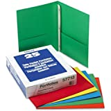 """Oxford Paper Twin-Pocket Portfolio, Tang Clip, Letter, 1/2"""" Capacity, Assorted, 25/Box"""