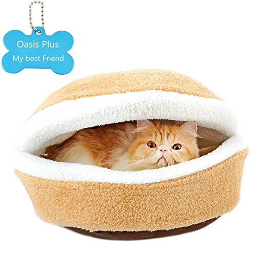 Oasis Plus Hamburger-style Windproof Cat Bed House Shell Nest Kitten Litter Thermal Hiding (46x35x26cm)