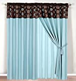MODERN Blue Brown Window Curtain / Drape Set with Sheer Backing 120-by-84-Inch