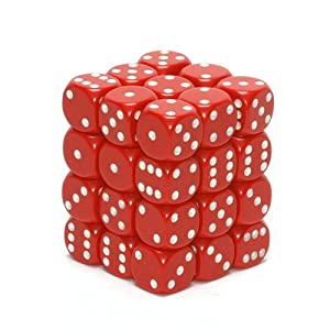 Chessex Dice d6 Sets: Opaque Red with White - 12mm Six Sided Die (36) Block of Dice