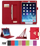 iPad 6 (iPad Air 2) Case Cover, FYY® Premium Leather Case Stand Cover with Card Slots, Pocket, Elastic Hand Strap and Stylus Holder for iPad 6 (iPad Air 2) Red (With Auto Wake/Sleep Feature)