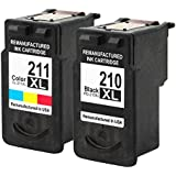 Valuetoner Remanufactured Ink Cartridge Replacement For Canon PG-210XL CL-211XL High Yield 2973B001 2975B001 (1 Black, 1 Color) 2 Pack Compatible With PIXMA IP2700 IP2702 MP240 MP250 MP270 MP280 MP460 MP490 MP495 MP499 MX320 MX330 MX340 MX350 MX360 MX420 Printer