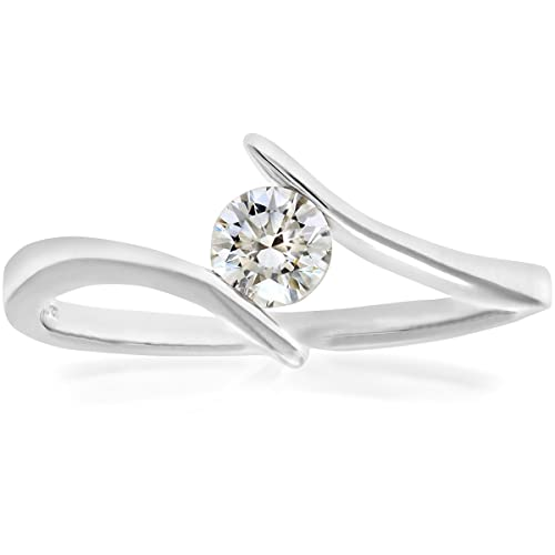 Naava 18ct White Gold Crossover Engagement Ring, F/SI1 EGL Certified Diamond, Round Brilliant, 0.28ct