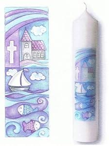 Baptism Candle Cross, Church, Sea, Boat, Fishes, 265 x 50 mm from Butzon u. Bercker GmbH