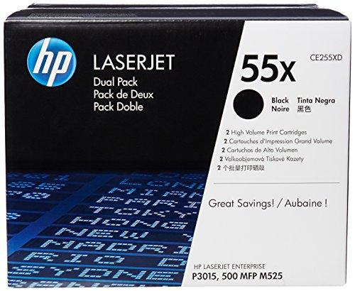 HP 55X (CE255XD) Black High Yield Original LaserJet Toner Cartridges, 2 pack
