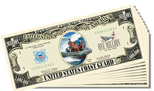 Military - Coast Guard Novelty Million Dollar Bill - 10 Count with Bonus Clear Protector & Christopher Columbus Bill