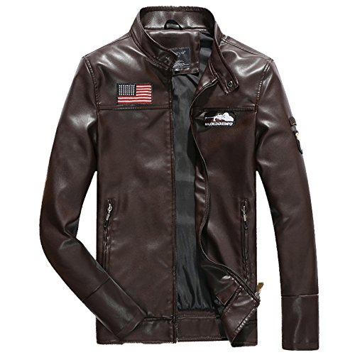 H.T.Niao Jacket8930C2 Men's Fashion Leisure Collar PU Leather(Coffee,Size M) (Maroon Colored Nail Polish compare prices)