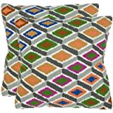 Safavieh Pillows Collection Lacey Decorative Pillow, 18-Inch, Multicolored, Set of 2