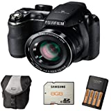 Fujifilm FinePix S4200 + Case + 8GB Memory + 4 AA Batteries and Charger (14MP, 24x Optical Zoom) 3 inch LCD Screen
