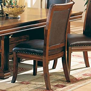 Set of 2 old west style solid wood dining chairs w leather for Wood dining chairs with leather seats