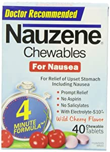 Nauzene Wild Cherry Chewables, 40 Chewable Tablets (Pack of 3)