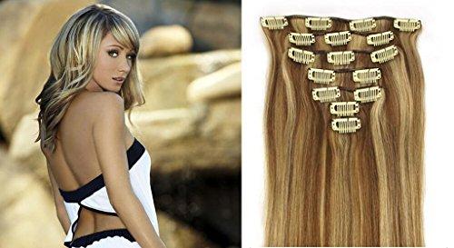 RemyHair Clip-In-Extensions fur komplette Haarverlangerung hochwertiges Remy-Echthaar 38CM 16clips 70g#12613 mischen