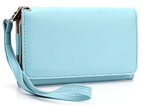 ladies-sky-blue-multi-purpose-smart-phone-case-plus-removable-wristlet-strap-for-zte-valet-cell-phon