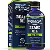 Beard Oil - Tea Tree Scent - Huge Man-Sized 4 oz Bottle - 100% Natural - Softens Your Beard and Stops Itching - Scent Women Love - Best Beard Oil And Conditioner For Men