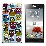 Kwmobile Hard case Owl design for LG Optimus L9 P760 in Light blue Violet