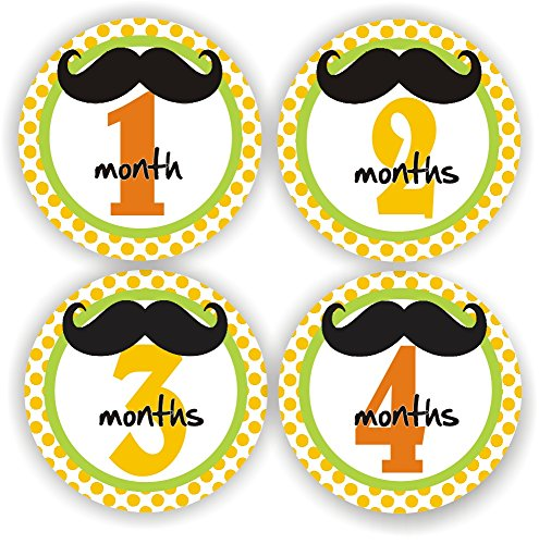 Philly Art & Crafts Baby Boy Monthly Stickers - Baby Shower Gift - Mustache Baby Month Stickers - Includes 1-12 Months Stickers