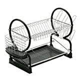 Housewares 2 Tier Dish Drainer with Removable Drip Tray Black and Chrome