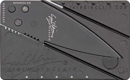 Cardsharp 1B Black Finish Credit Card Folding Safety Knife With Black Polypropylene Plastic Body