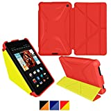 roocase Kindle Fire HD 6 2014 Case, new Kindle Fire HD 6 Origami 3D Slim Shell Case with Sleep / Wake Smart Cover [Supports Landscape, Portrait, Typing Stand] for All-New Fire HD 6 Tablet (2014), Testarossa Red/Tagerine Yellow