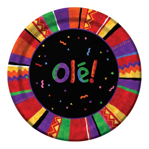 Creative Converting 8 Count Round Lunch Plates, Fiesta Festive