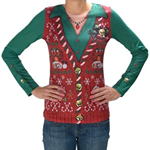 """Wmu Women's Christmas Shirt: Ugly """"Vest""""- Extra Large(Pack Of 1) by Faux Real"""