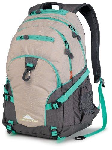 High Sierra Loop Backpack, Almond/Charcoal/Aquamarine, 19 X 13.5 X 8.5-Inch