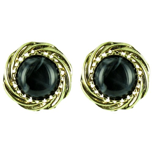 Black On Gold Plated Round Marble Effect Earrings front-747089
