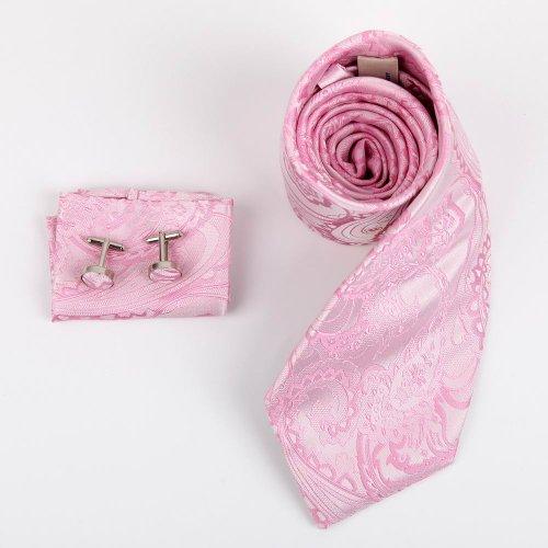 H8050 Fantastic Light Pink Pattern Working Day Gift Idea Silk Tie Cufflinks Hanky Set 3PT By Y&G