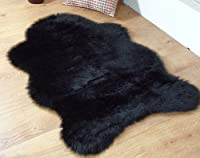 Black faux fur sheepskin style rug 70 x 100 cm washable